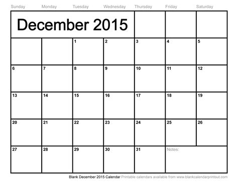 Blank December 2015 Calendar Download | blank december 2015 calendar to print