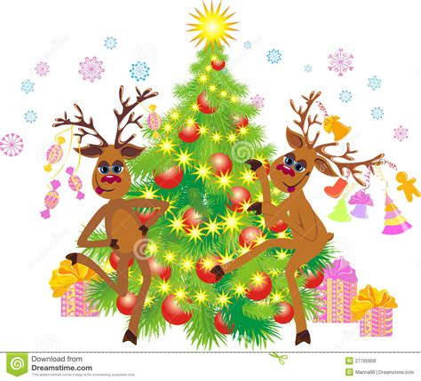 dancing christmas tree picture reindeer at a tree royalty free stock photos image 27795808