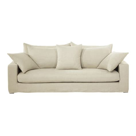 linen sofa 3 seater washed linen sofa in ecru gaspard maisons du monde