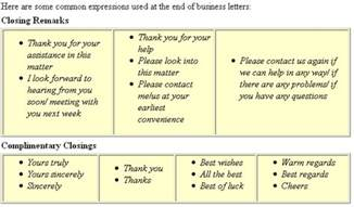 Business Letter Closing Respectfully Letter Closings Activity 1