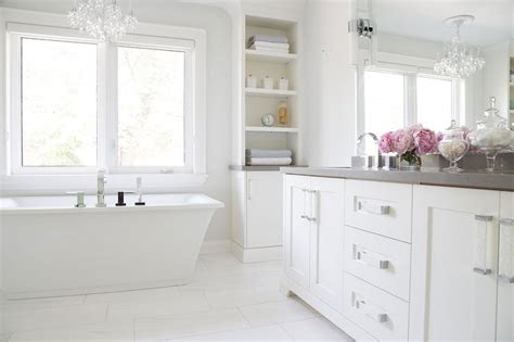 White Bathroom Cabinets With Countertops white bathroom cabinets with gray quartz countertops