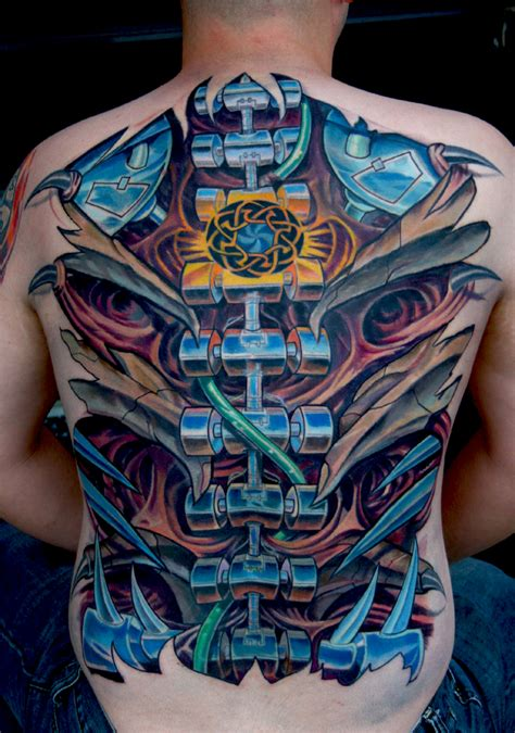 large biomechanical back tattoo design of tattoosdesign