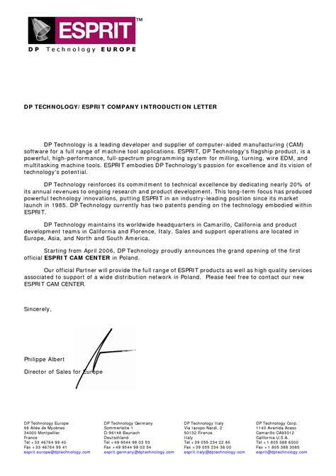 company presentation letter exles new business