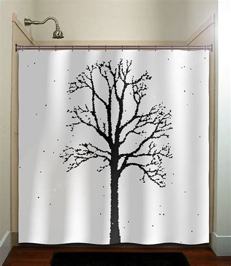 fabric tree shower curtain oak forest woodland winter trees shower curtain bathroom