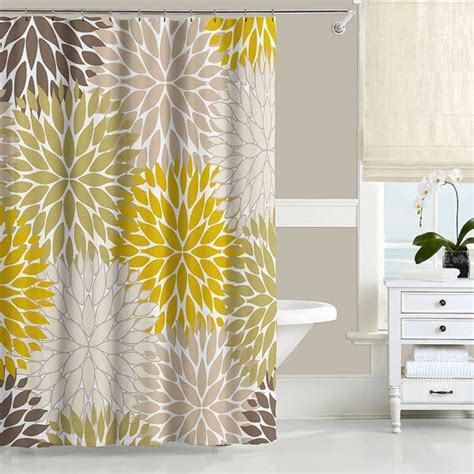 Yellow Brown Curtains Floral Shower Curtain Dahlia Mustard Yellow Green Brown