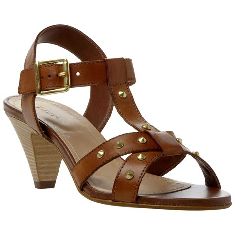 dune heels sandals dune furious leather studded cone heel sandals in brown