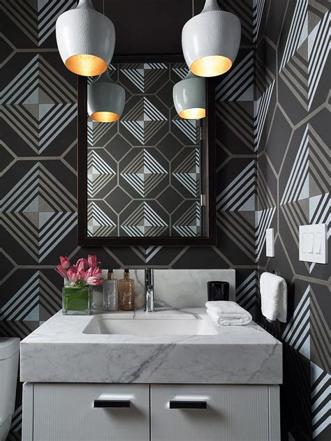 black and white graphic wallpaper interior 25 awesome rooms that inspire you to try out geometric