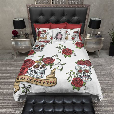 day of the dead bed set day of the dead rose and sugar skull duvet bedding sets