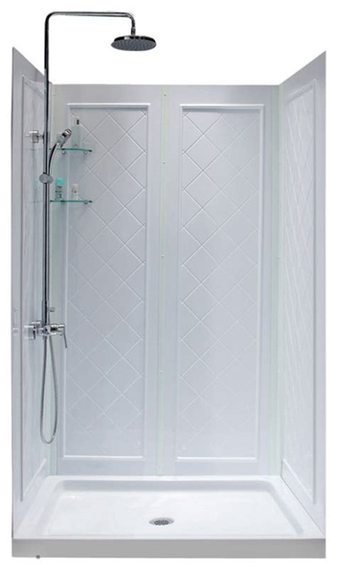 Bathroom Shower Stall Kits Dreamline Slimline 36 Quot X 48 Quot Base And Backwall Kit Modern Shower Stalls And Kits By Dreamline