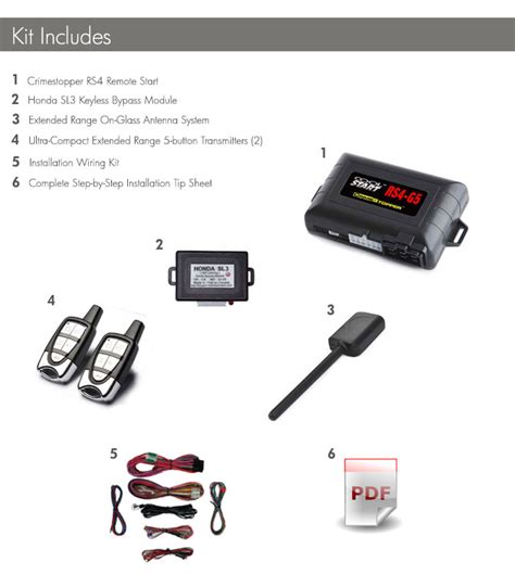 acura tsx remote start the kit includes