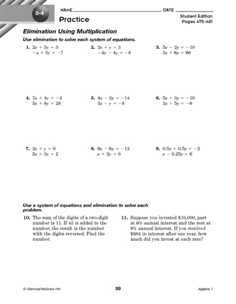 Solving Systems Of Equations By Elimination Worksheet by Solving Systems Of Equations By Elimination Worksheet
