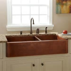 Kitchen Farm Sink 39 Quot Fiona 60 40 Offset Bowl Hammered Copper Farmhouse Sink Kitchen Sinks Kitchen