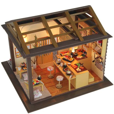miniature doll house kits dollhouse miniature diy kit w light cherry blossom sushi bar store shop house ebay