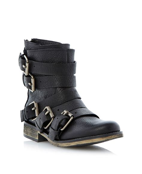 steve madden yale heeled buckle ankle boots in black lyst
