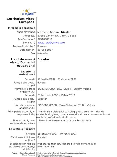 format cv romana simplu model cv simplu romana word gallery certificate design