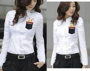 Baju Kemeja Wanita Warna Putih Polos Lengan Panjang Kasual Modern 2 model baju hem wanita warna merah dan hitam polos terbaru