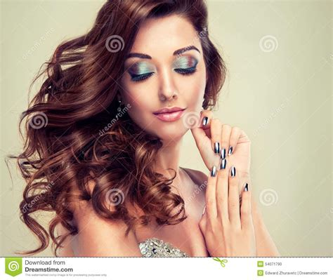 beautiful model with elegant hairstyle stock photo beautiful model with long curly hair stock photo image