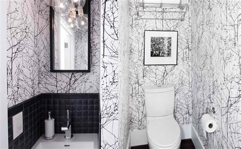 Black And White Wallpaper For Bathrooms by Black And White Wallpaper In 15 Bathrooms And Powder Rooms