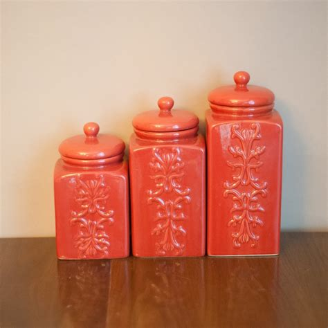 set of vintage coral ceramic canisters chinoiserie