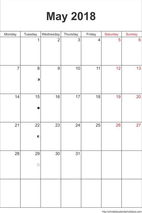 Calendar May 2018 May 2018 Calendar Template Portrait Printable 2017
