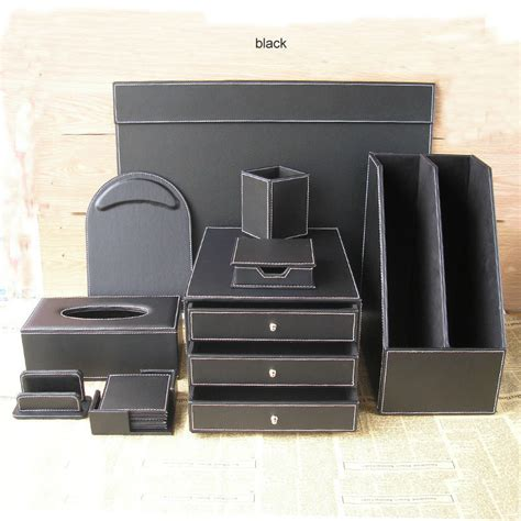 Office Desk Organizer Sets 10pcs Set Leather Office Desktop File Stationery Accessories Organizer Holder Pen Holder