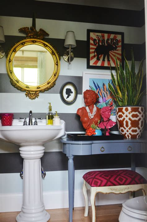 this bathroom make with all the details and funky colors but neutral walls