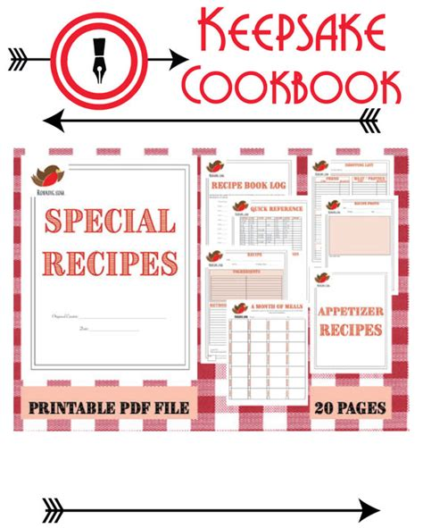 printable recipe organizer printable cookbook instant download cookbook keepsake