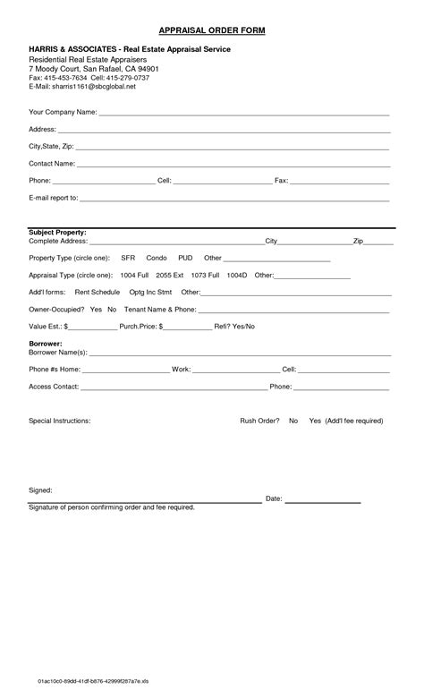 appraisal form template real estate appraisal order form templates