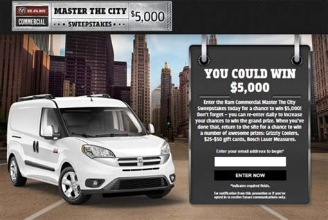 Ram Sweepstakes - ram commercial master the city sweepstakes sweepstakes pit