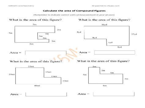 printable area of composite figures printables composite figures area worksheet kigose