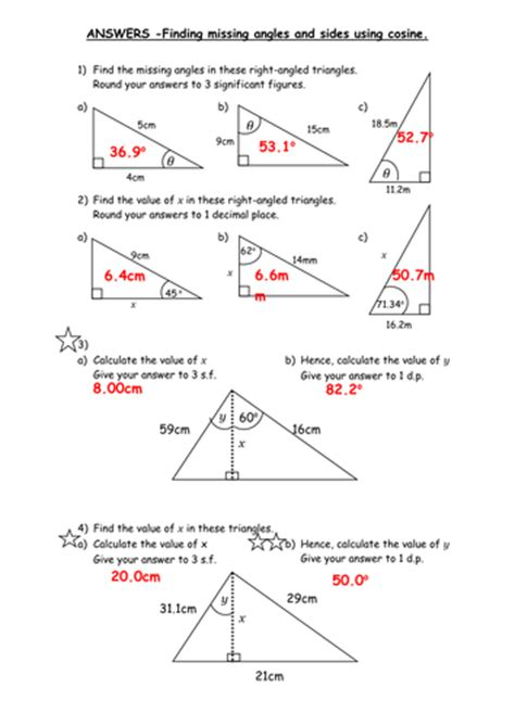 Cos Worksheet With Answers by Worksheets Sine Cosine And Tangent Practice Worksheet