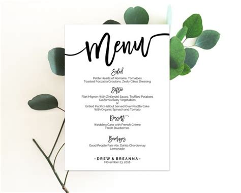 wedding menu template menu template wedding menu cards