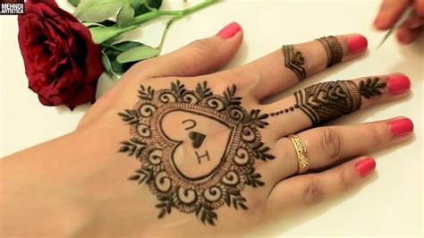 Henna Design Love | cute heart with love easy simple girlish mehndi design for