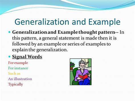 pattern of organization generalization and exle thought patterns cause and effect generalization exle