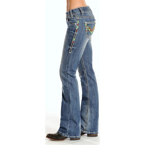 what are the best jeans for women in their forties rock roll cowgirl geometric v embroidered jeans for