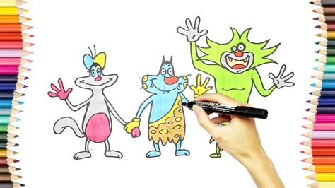 learn colors with oggy oggy and the cockroaches coloring pages draw and color