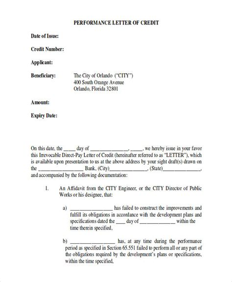 Unenforceable Credit Agreement Template Letter Letter Of Credit Sle 9 Exles In Word Pdf