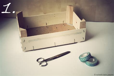 deko mit obstkisten obstkisten recycling schere leim papier