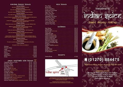 The Cabin Restaurant Glasgow Menu by Takeaway Menu Picture Of Indian Spice Alsager Tripadvisor