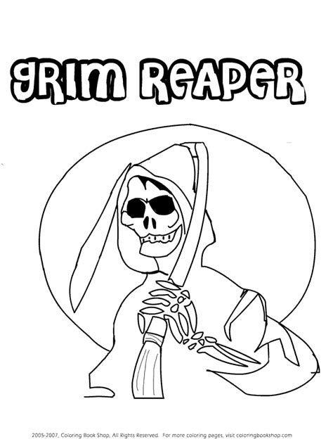 sketch of grim reaper with gun coloring pages
