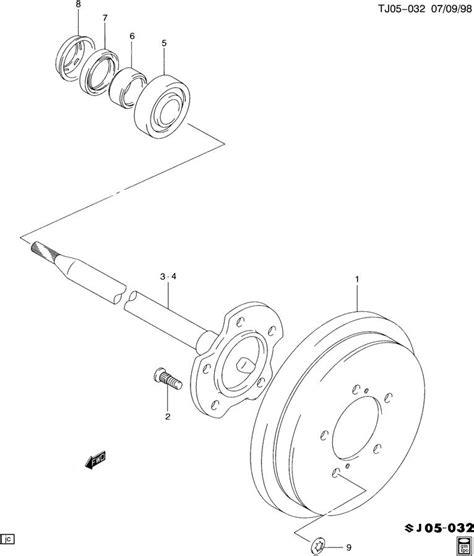 2002 chevy tracker rear brake diagram 2003 geo tracker axle shaft rear brake drum
