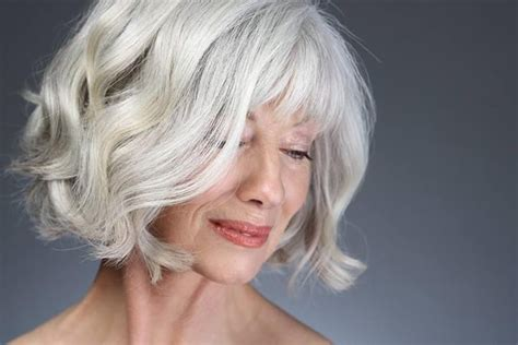 bangs and gray hair silver wavy bob gray hair pinterest bobs silver