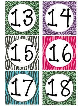 zebra printable calendar zebra print calendar numbers by charly baker teachers