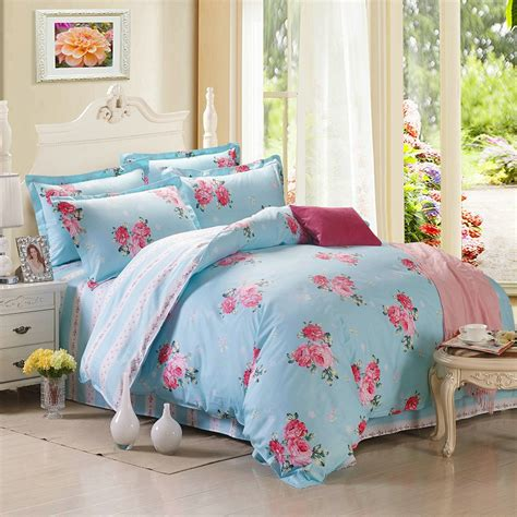 Cotton Bed Sheet Sets Floral 4pcs Bedding Set 100 Cotton Sheet Set Bed Linen Stripe Plaid Duvet Cover Pillowcase