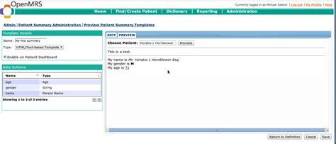 org mode templates create patient summary templates documentation openmrs