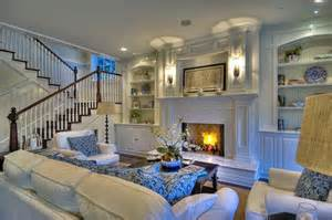 white family room blue white inspiration belclaire house