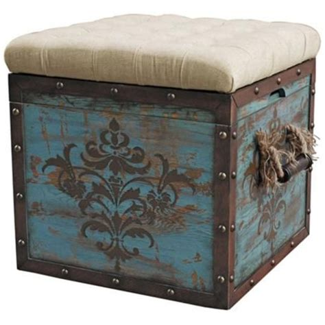 wood crate ottoman teal wood crate upholstered ottoman