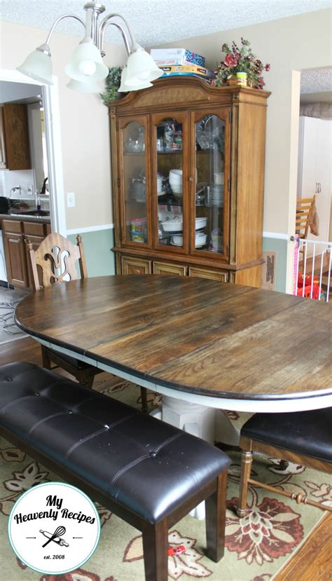 Dining Table Makeover Farmhouse Inspired Dining Room Table Makeover My Heavenly Recipes
