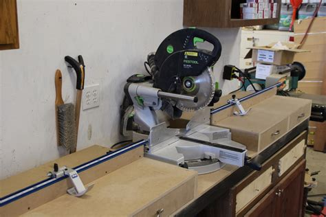 mitre bench miter saw station plans with drawers using kreg trak and