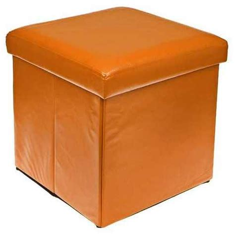 storage ottoman orange orange colour leather fold flat ottoman storage box